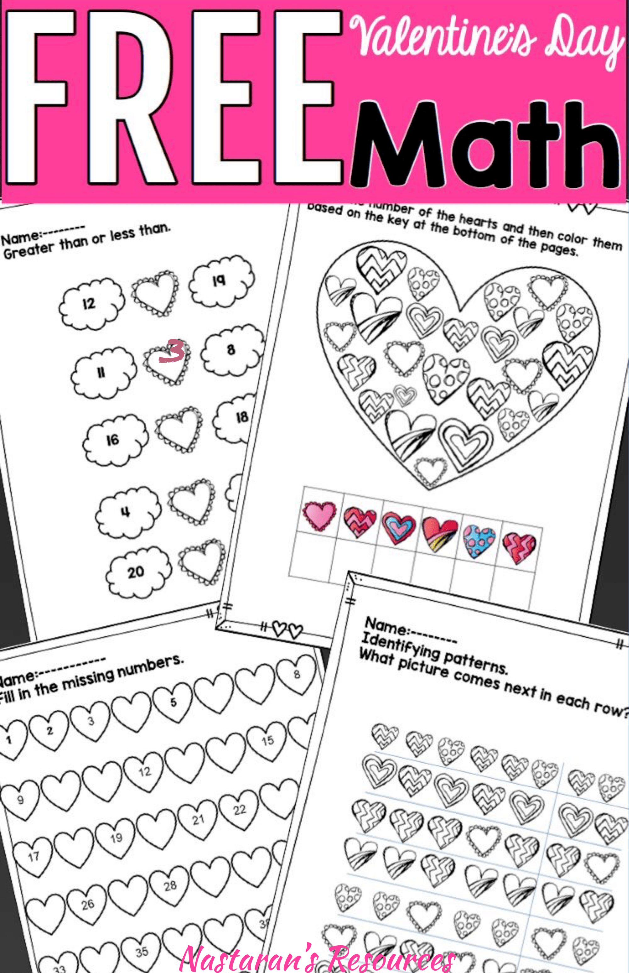 Free Valentine S Day Math Worksheets For Kids First Grade