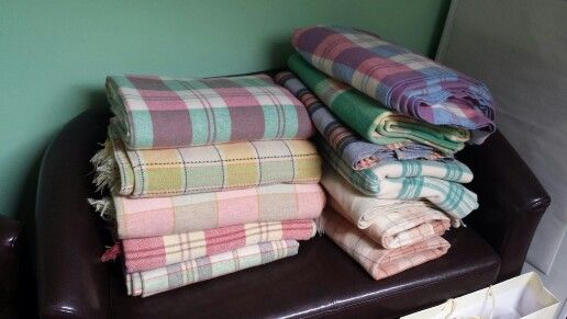 Authentic Welsh Blankets before up cycling.