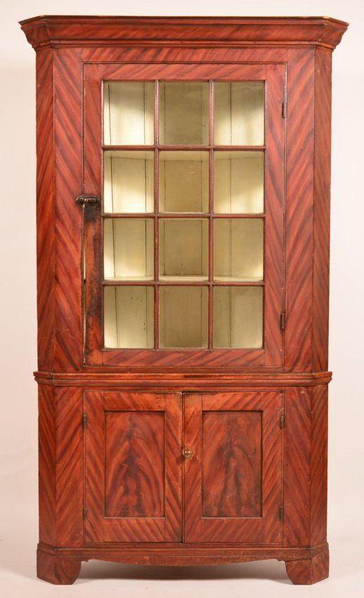 83af98dc2787 Lot 691Pennsylvania Federal Softwood Grain Paint Decorated Two Part Corner  Cupboard. Molded cornice