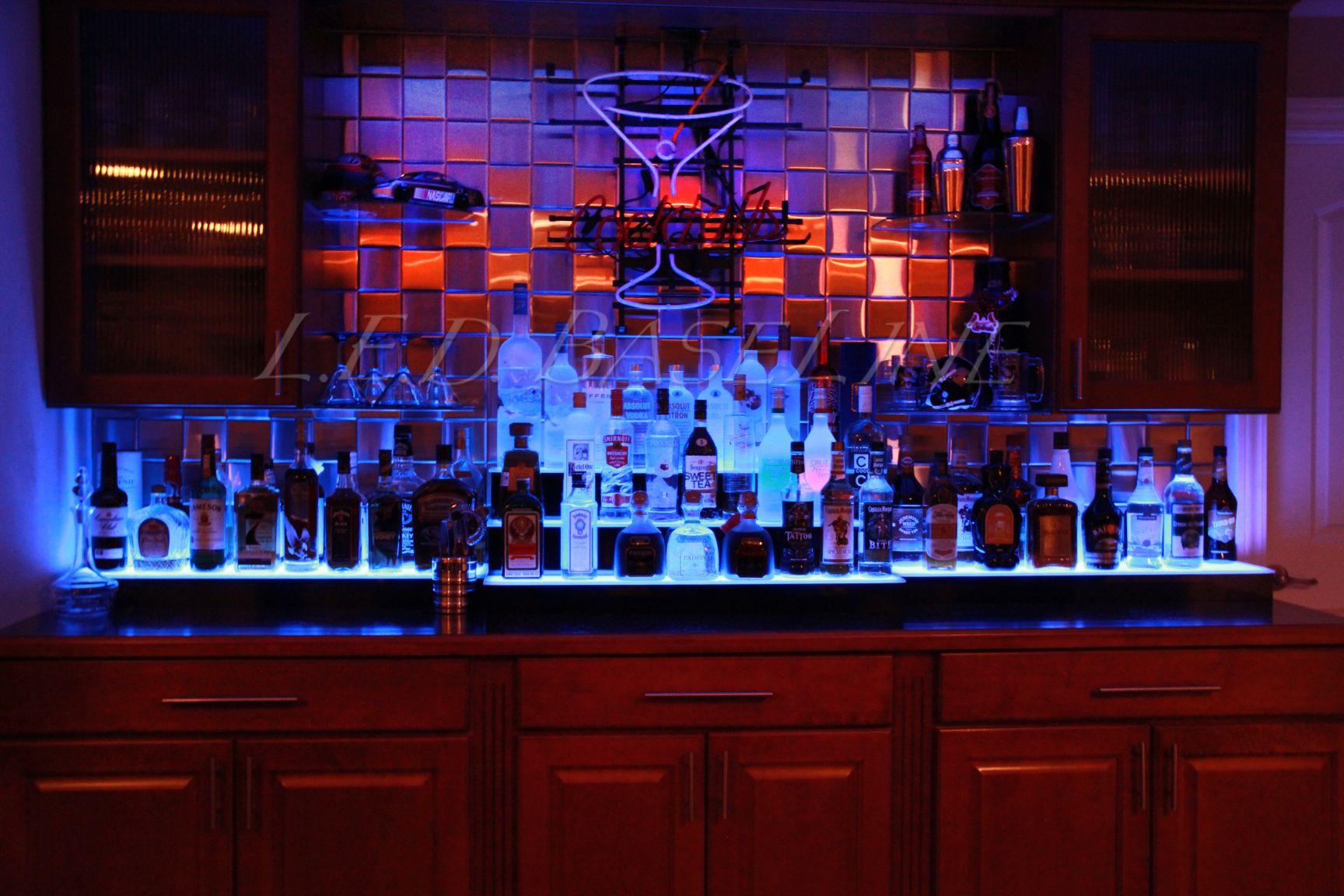 Home bar lighting - Home Bar Bar Decor Custom Lighted Bar Shelf Bottle Illumination L E D Lighting
