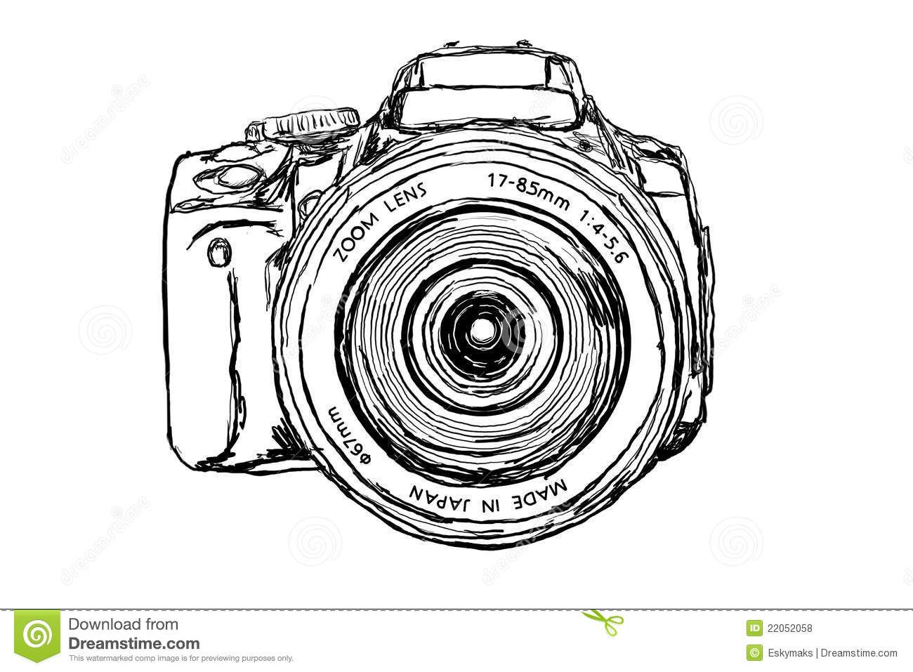 Digital Single Lens Reflex Camera on white background