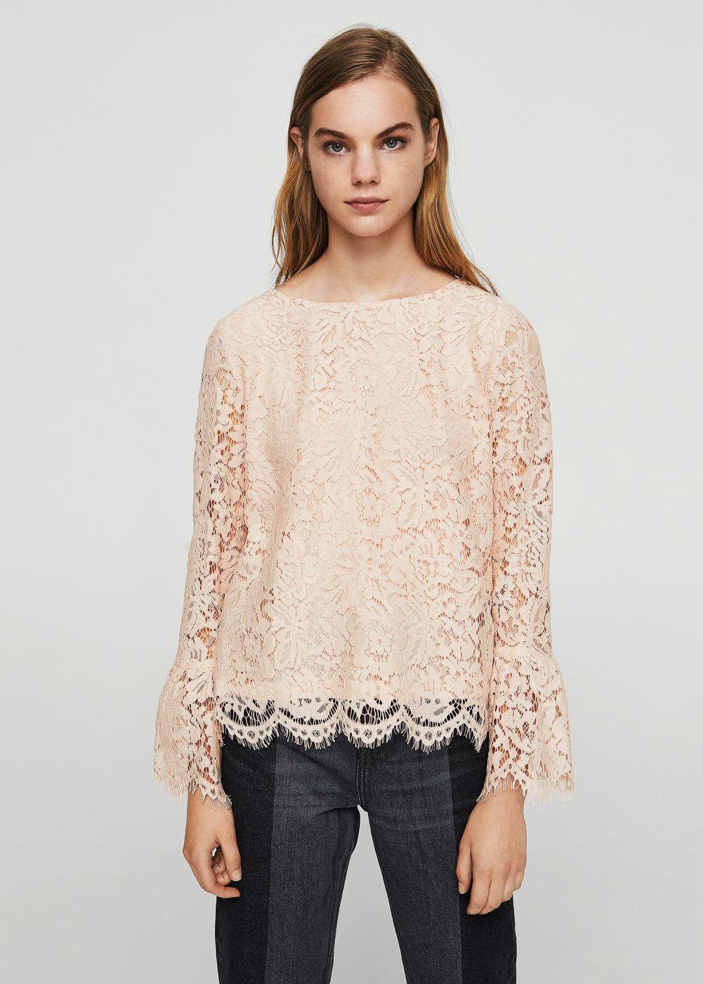 algodón Camisas Mujer Blusa de guipur España MANGO Bqxdw70