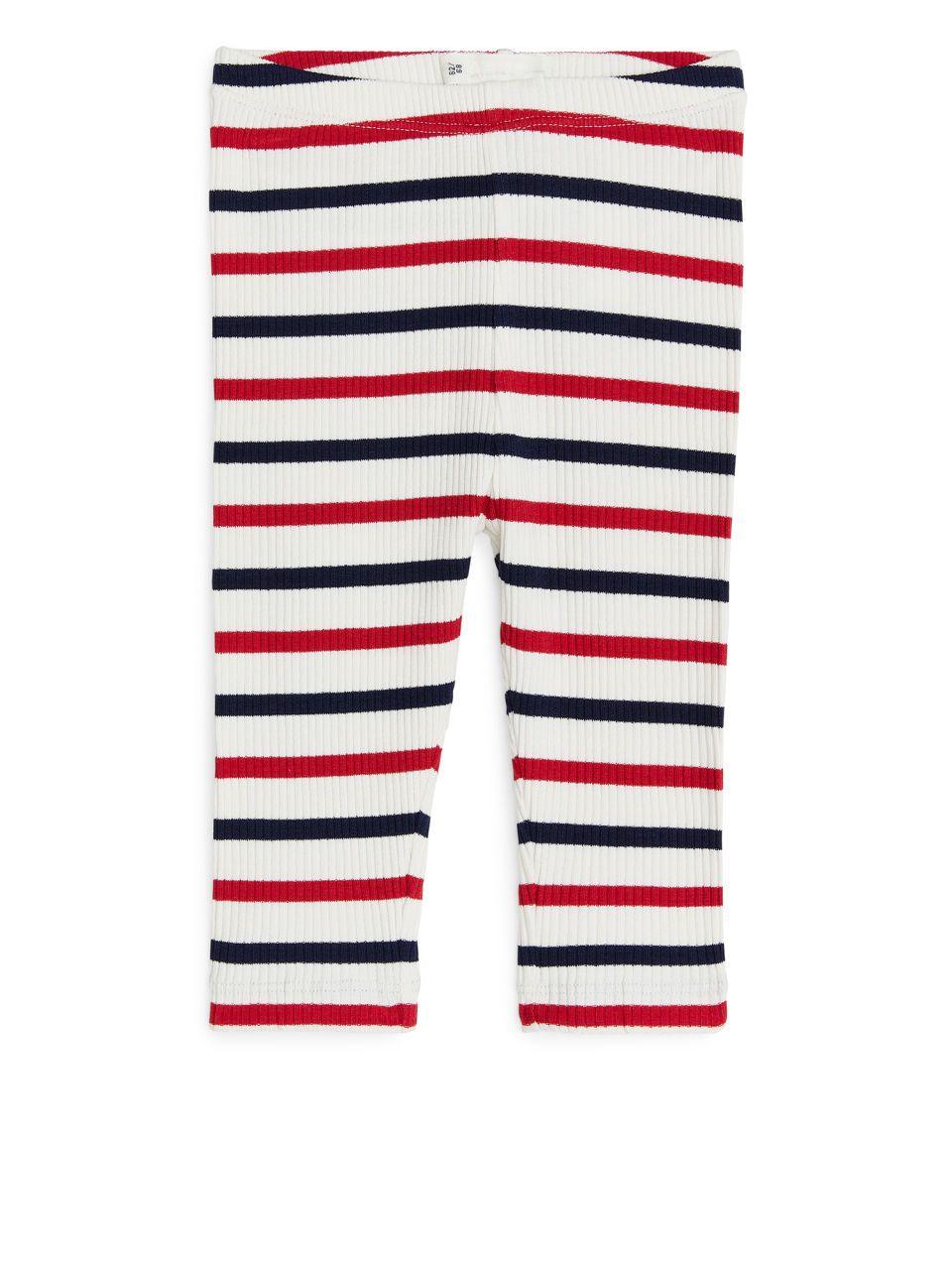 d7043ddd1f5dd8 Ribbed Leggings - Off White/Red/Blue - Baby & Newborn | Bäbi | Baby ...