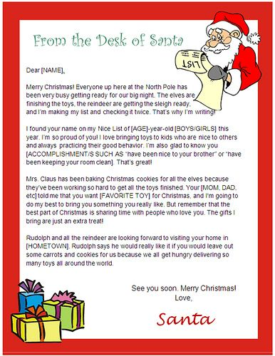 image about Letter From Santa Template Printable called Pin upon Printable Santa Letters