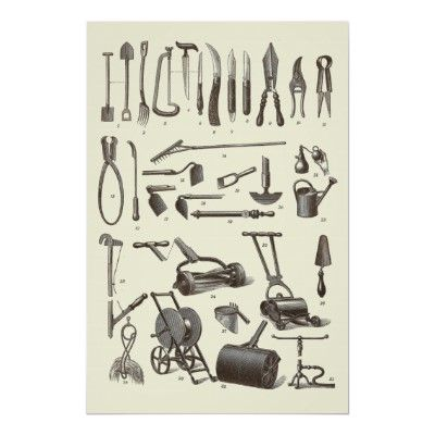 Antique Garden Tools From Old Dictionary Poster Zazzle Co Uk Garden Hand Tools Antique Tools Garden Tools