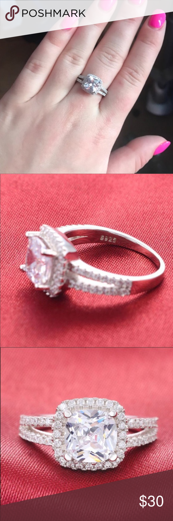 Size 5) real silver 4CT engagement ring | Wedding jewelry ...