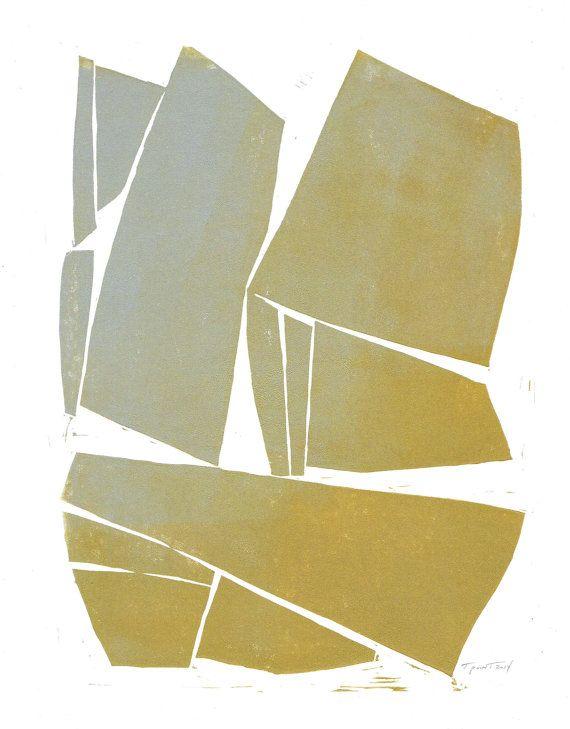 SALE - Print - Geometric Modern Contemporary Linocut / 9 x 12 Wall ...