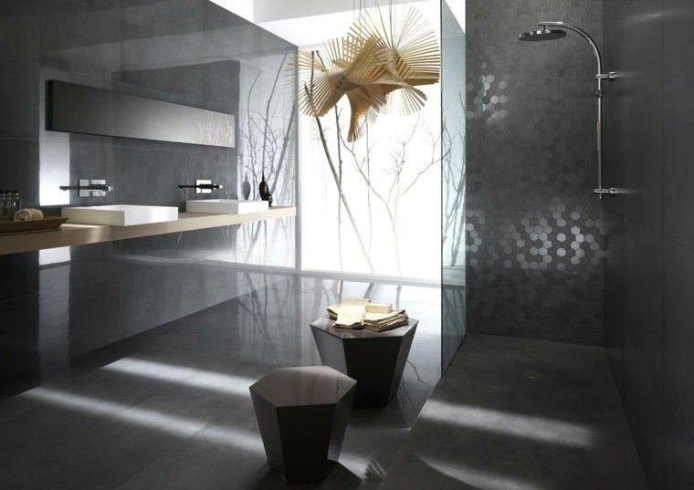diseño de baños lujoso mosaico brillante ducha gris ideas Bagni - baos lujosos