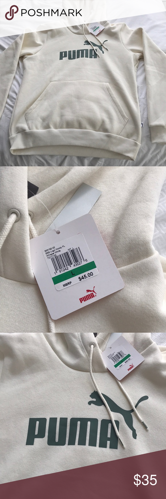 Puma Sweatshirt Cream White With Army Green Puma Lettering And Logo Brand New Never Worn With Tag Fitted Puma Puma Sweatshirt Sweatshirts Sweatshirts Hoodie [ 1740 x 580 Pixel ]