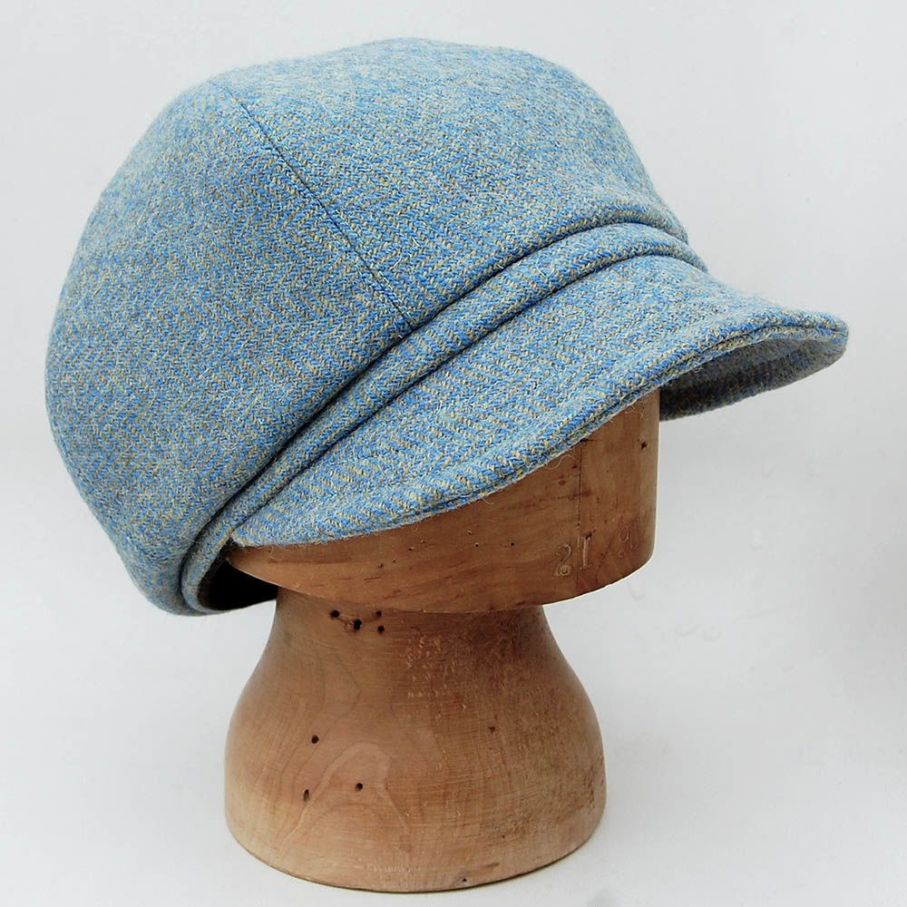 25c70583e0b7f Blue Harris tweed newsboy cap ZUTjean | hats | Hats, Newsboy cap ...