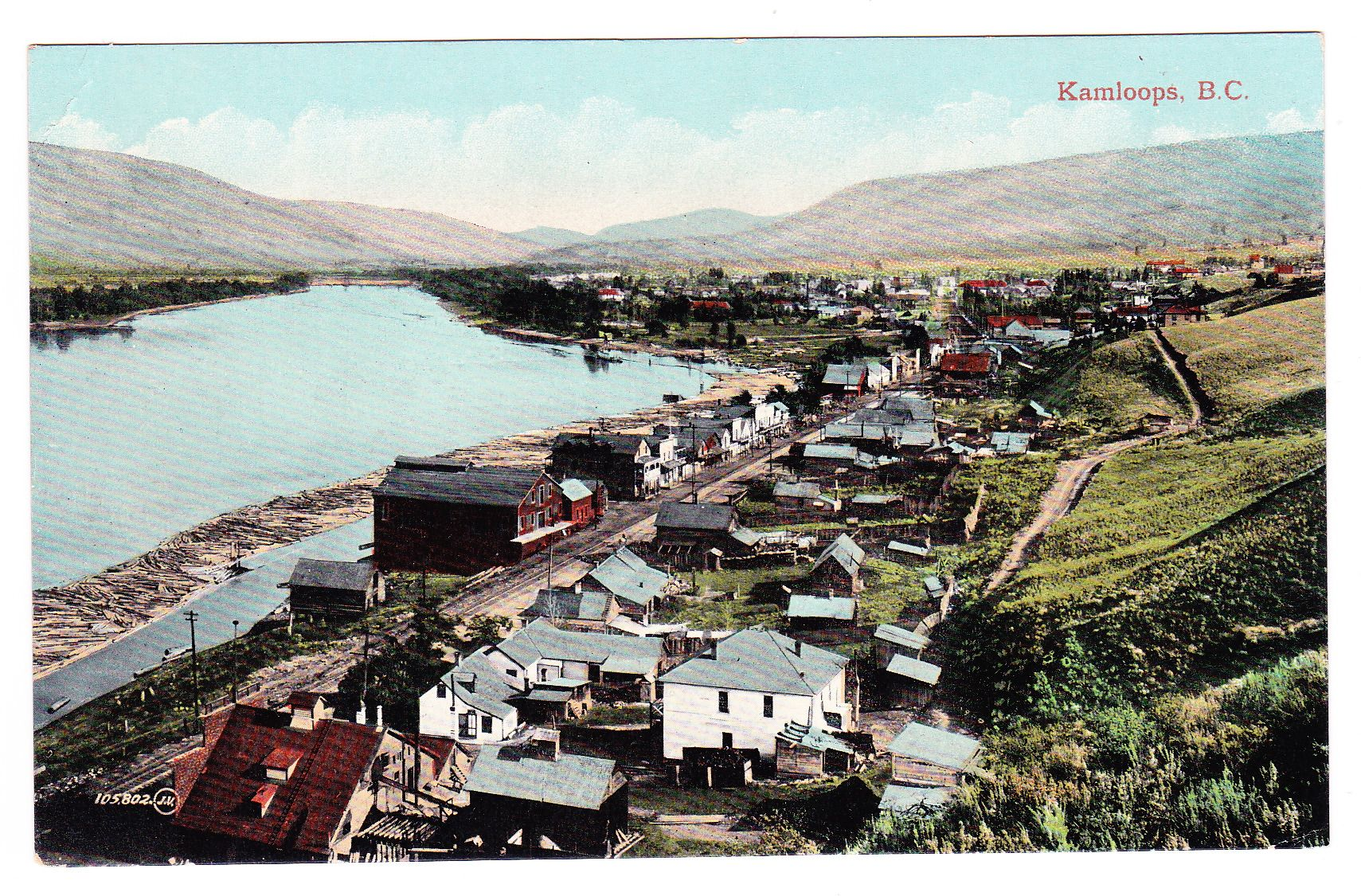 KAMLOOPS, B.C. A postcard, showing the CPR line running into Kamloops with the Thompson River to the left. Card is published by Valentine & Sons c.1900s.