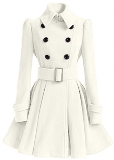 Button Closure Long Sleeve White Coat on sale only US$41.27 now ...
