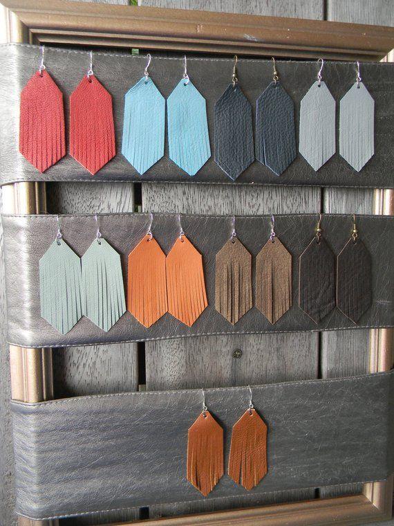 Photo of Leather Fringe Earrings, Leather Earrings, Festival Earrings, Boho Earrings, Brown, Mustard, Red, Autumn, Fall, Gift for Her