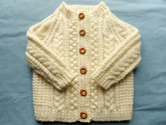 Knitting Patterns For Baby Girl Sweaters : Baby girl sweater in cream hand knit