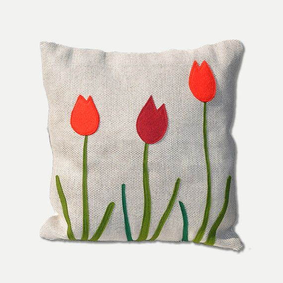 Spring Home Decor Decorative Pillow Tulips Spring By Agaartfactory