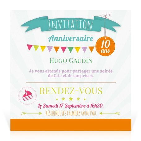 invitation pour anniversaire enfant fanions cardissime cette jolie carte d 39 invitation se. Black Bedroom Furniture Sets. Home Design Ideas