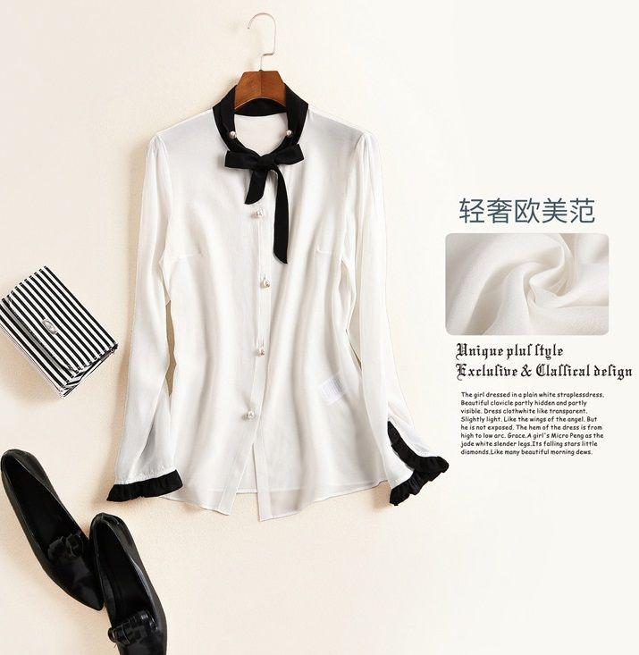 Cute black white bow collar women fashion silk shirts single ...