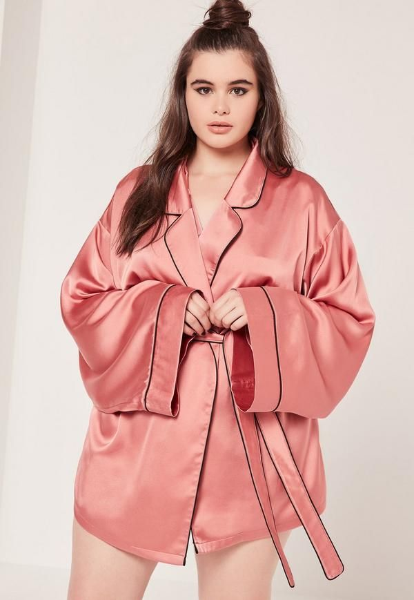 Plus Size Kimono Pipe Detail Silk Robe Pink - Missguided  64240f3c4