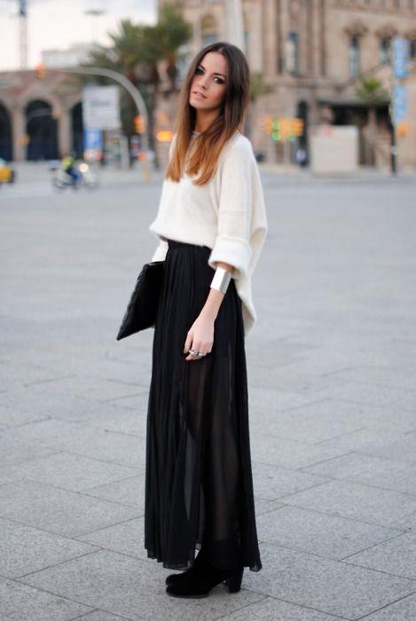 Sweater, skirt, bracelet. | My Style | Pinterest | Baggy sweaters ...