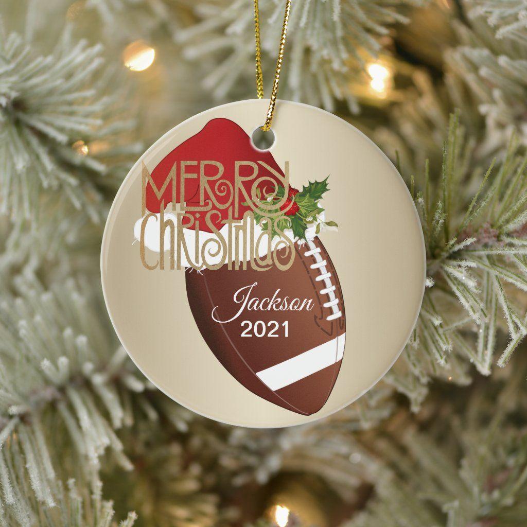 Football, Christmas Day, 2021 Christmas Football Ceramic Ornament Zazzle Com Ceramic Ornaments Ornaments Christmas
