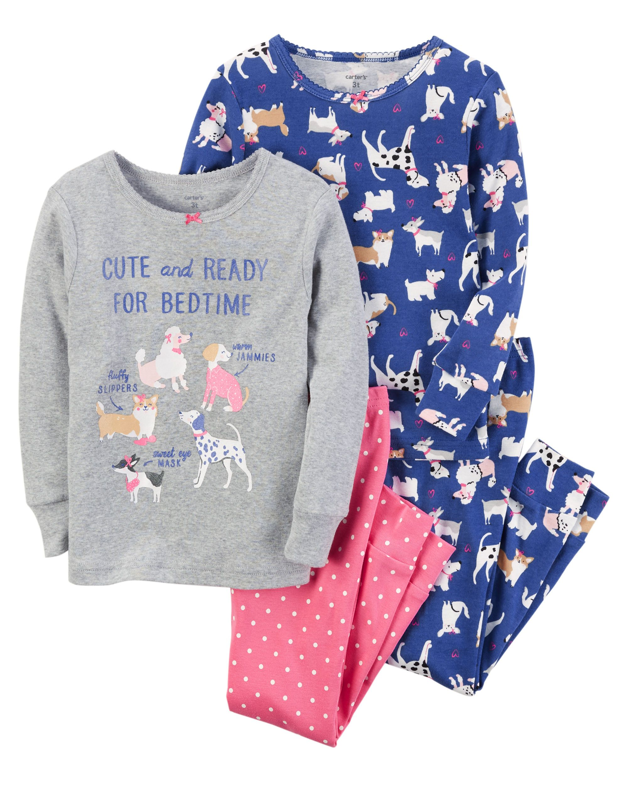 8b94860630 Baby Girl 4-Piece Dog Snug Fit Cotton PJs