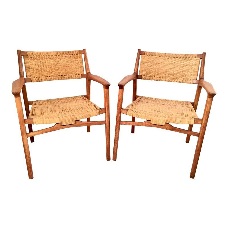 Outstanding Vintage Mid Century Modern Teak Cane Lounge Chairs A Andrewgaddart Wooden Chair Designs For Living Room Andrewgaddartcom