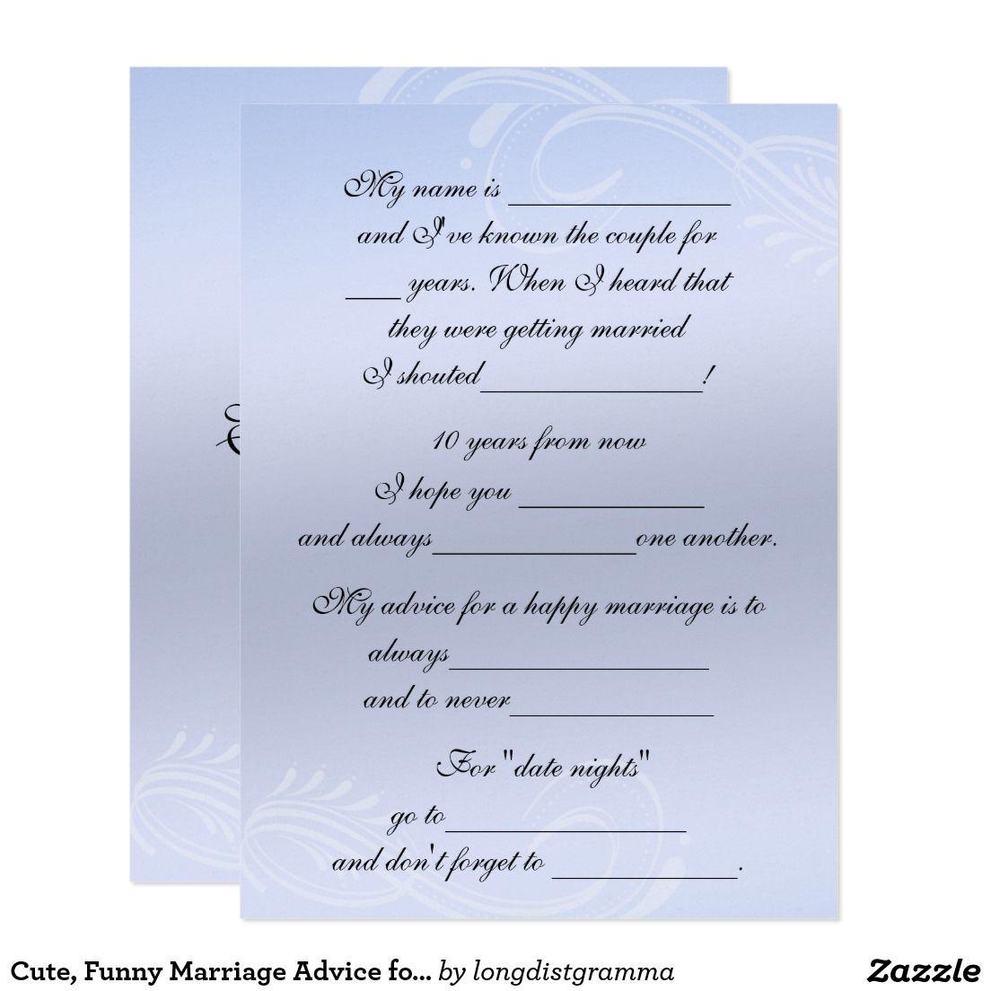 Cute Funny Marriage Advice For Bride Groom Zazzle Com In 2020 Funny Marriage Advice Groom Card Wedding Advice Cards