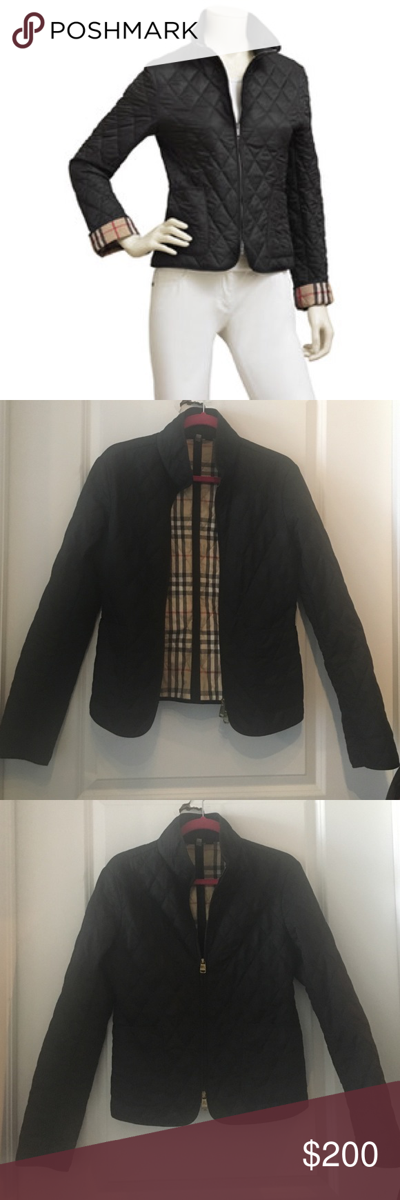 Burberry Zip Front Fitted Quilted Jacket Quilted Jacket Jackets Burberry Jacket