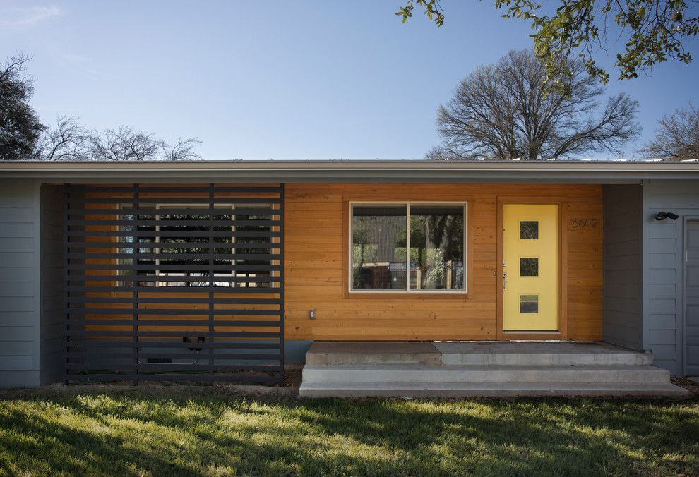Charming Yellow Door Home Remodel Midcentury Exterior Austin Home Custom Austin Home Remodeling