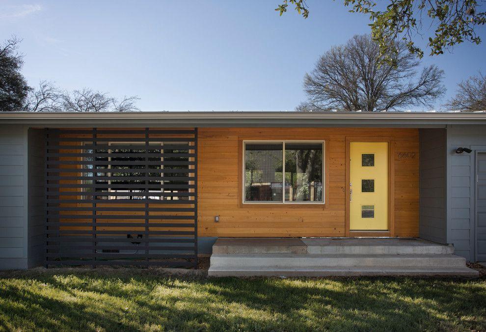 Best Charming Yellow Door Home Remodel Midcentury Exterior 400 x 300