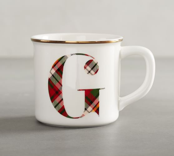 Plaid Alphabet Mug Alphabet Mugs Mugs Pottery Barn