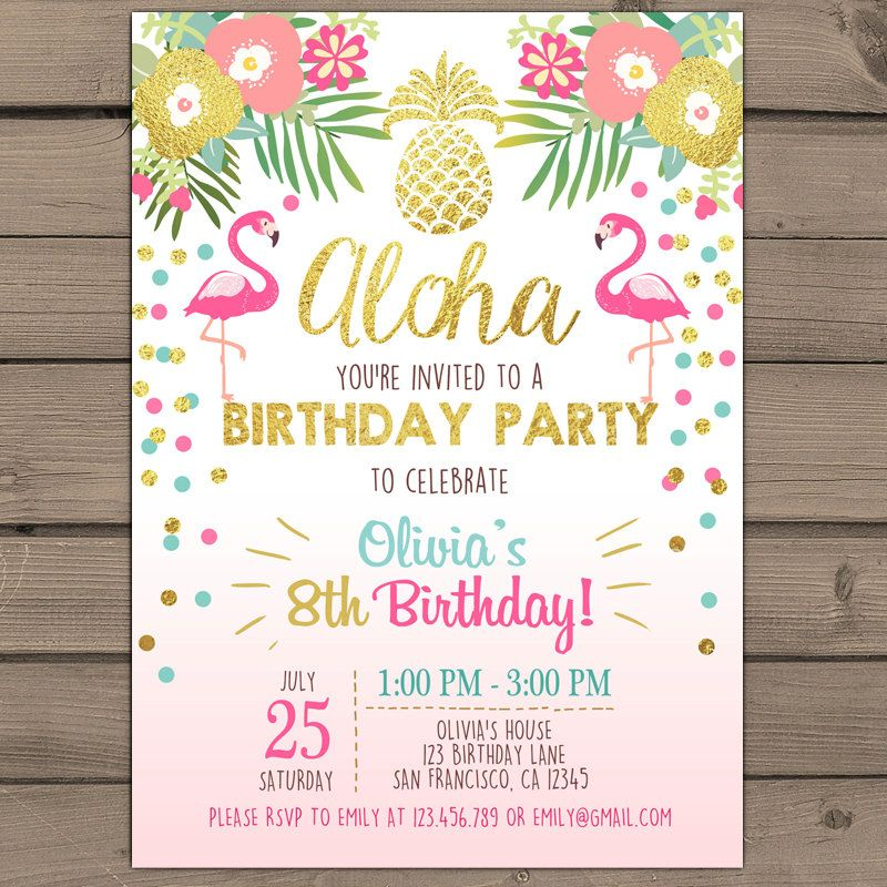 Flamingo party invitation Tropical Birthday Invitation luau ...