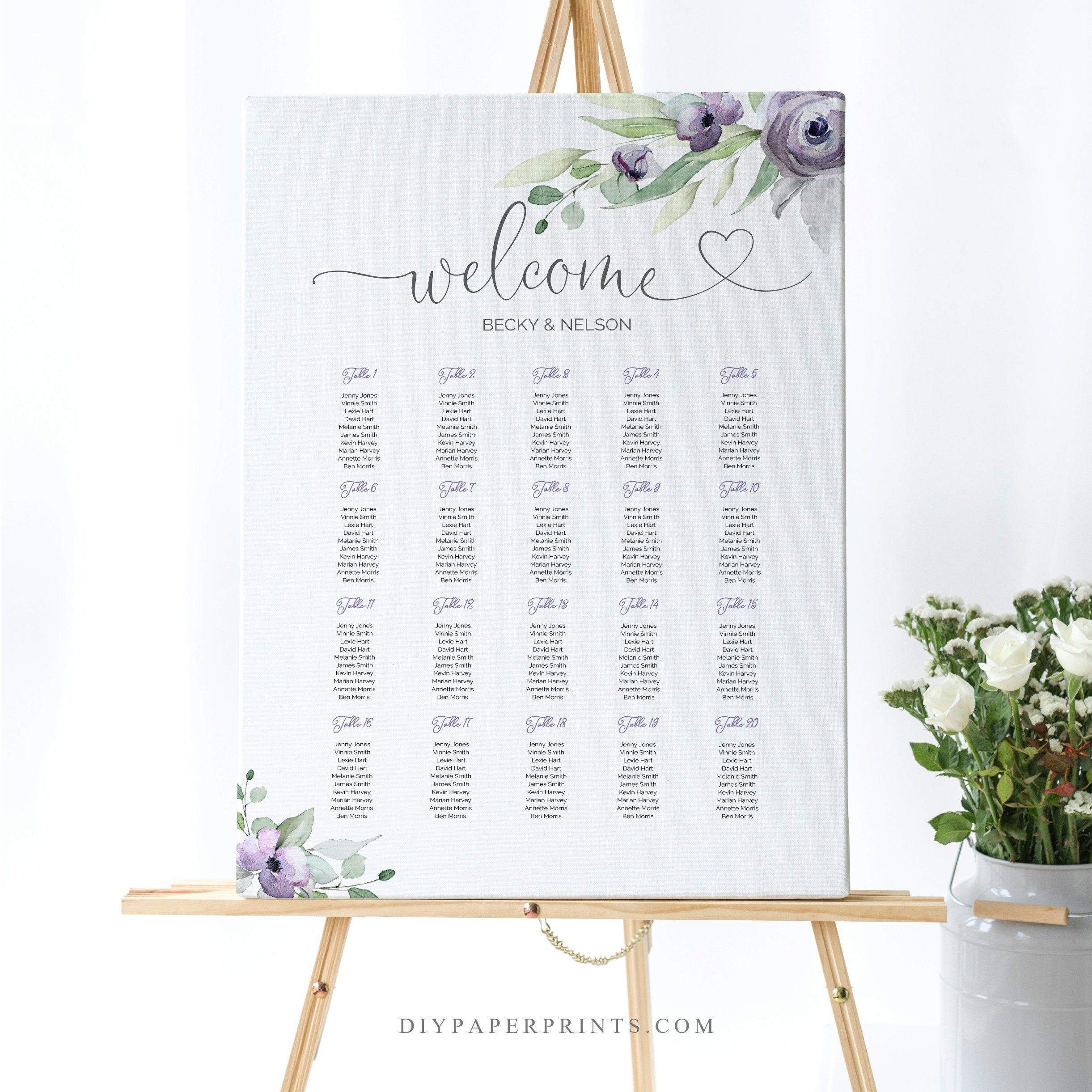 Wedding Seating Chart Template Printable Seating Sign 100
