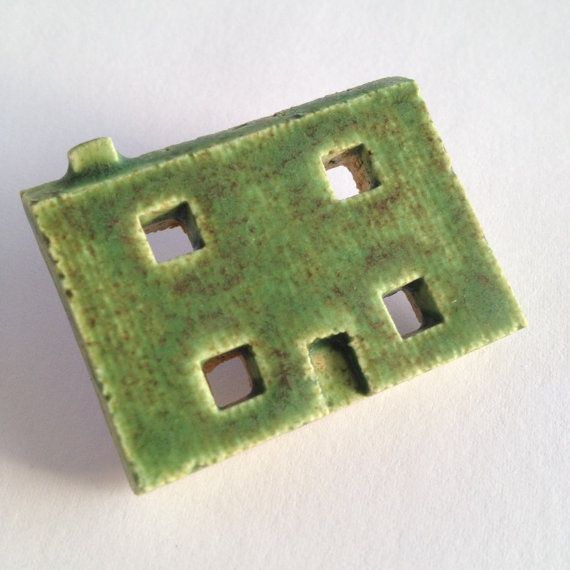 Green House Brooch by MadebymontyCeramics on Etsy