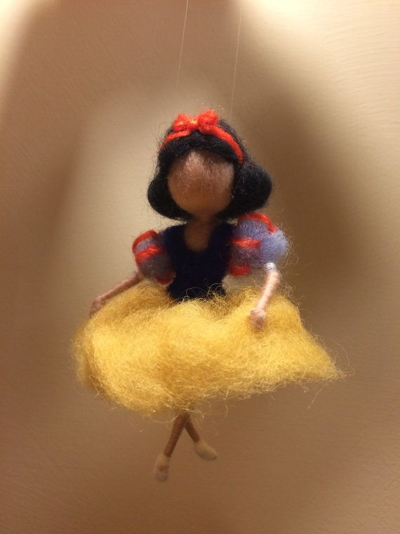 Needle felted Fairy, Waldorf inspired, Wool, Felted fairy, Disney, Disney Princess, Snow-white, Children room, Home decor, Gift #snowwhite