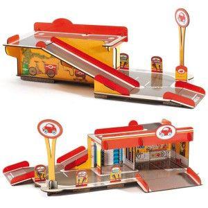 Garaje de cartón duro de Djeco, de fácil montaje para jugar con tus coches