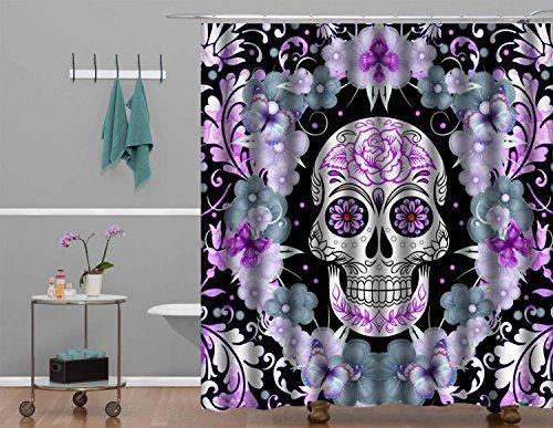 Flower Sugar Skull Shower Curtain Print Polyester High Quality Digital Fabric Art Painting Design Home Decor Bathroom 60 X 72 Successcoy