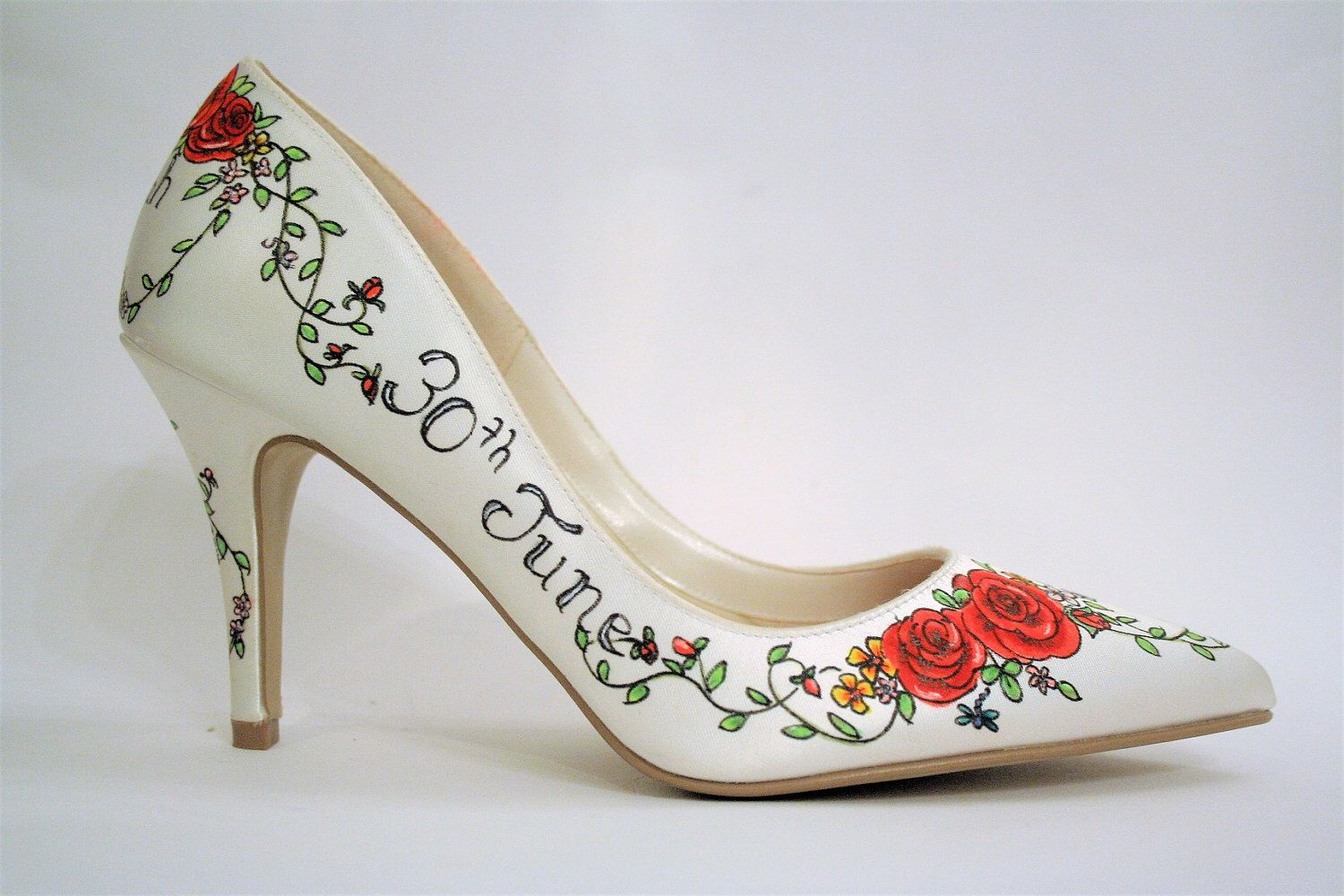 Rose Hand Painted Custom Wedding Shoes Personalized Bridal Date