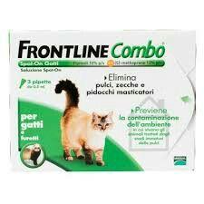 Frontline combo per gatti e furetti elimina pulci, zecche e pidocchi masticatori e previene la contaminazione dell'ambiente dove vivono gli animali dagli stadi immaturi delle pulci per 4 settimane.