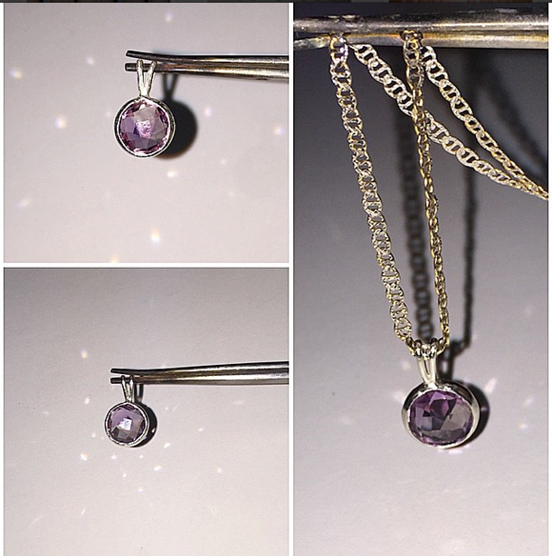 Gorgeous checkerboard faceted 10mm round amethyst stone in a basket setting with double-bail. Chain would not be included. Matching checkerboard faceted 6mm round matching amethyst available to make it a set! #handmade #sterlingsilver #925 #basket #basketset #pendant #amethyst #kcan_creations #basketsetting #madetoorder