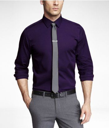 Modern fit 1mx stretch cotton shirt express style i for Express shirt and tie
