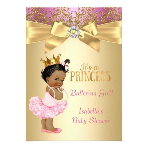 princess baby shower pink gold ballerina ethnic card | pink, Baby shower invitations