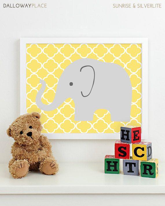 Modern Nursery Art Elephant Nursery Print, Safari Animal Kids Wall ...