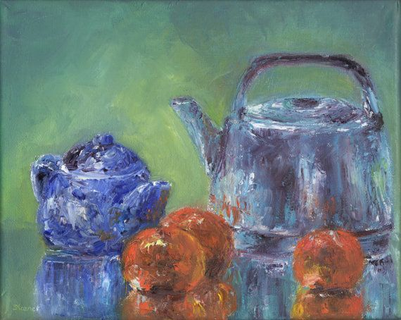 Tea in Orange and Blue still life original oil by 4excavations, $125.00