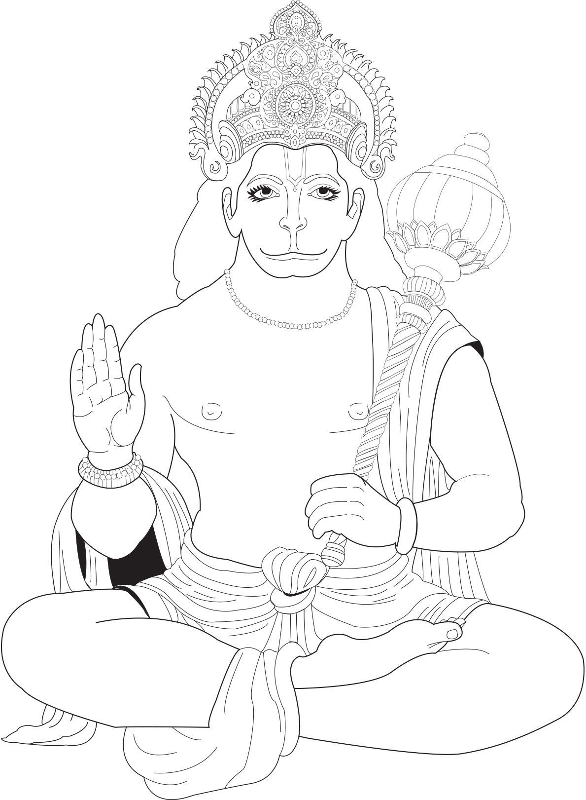Hanuman Coloring Pages Outline Drawings Lord Ganesha Paintings