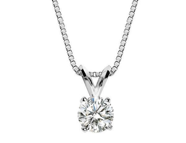 Premium Quality Diamond Solitaire Pendant Necklace 1.0 Carat (ctw) in 14K White Gold with Chain (Certified)