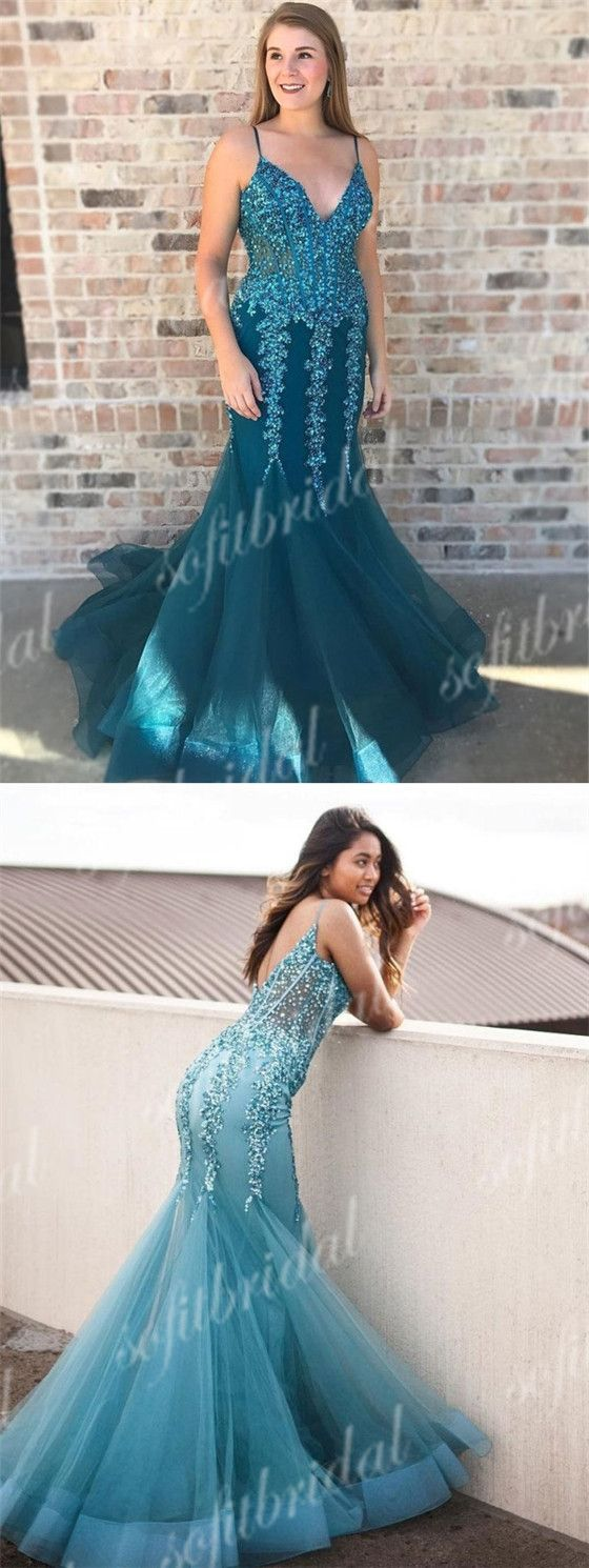 Turquoise spaghetti lace tulle mermaid prom dresses sexy sequin