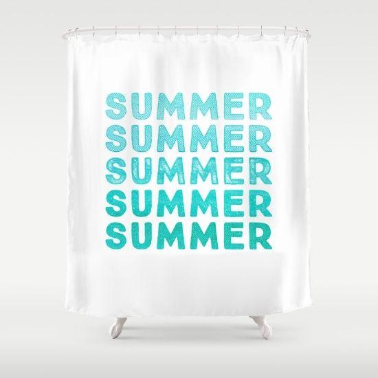 SUMMER- typography Shower Curtain