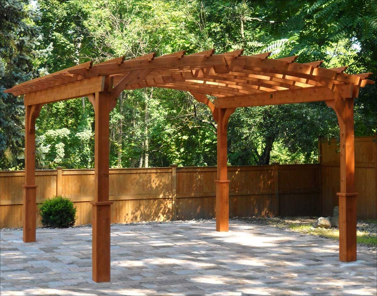 Exterior, Arched Roof Pergola Kits Design With Full Wood Elements With  Simple Legs Shapes With Green And Fresh Courtyard View: Charming Pergola  Kits For ... - Red Cedar Free Standing Arched Pergolas Garden Secrets