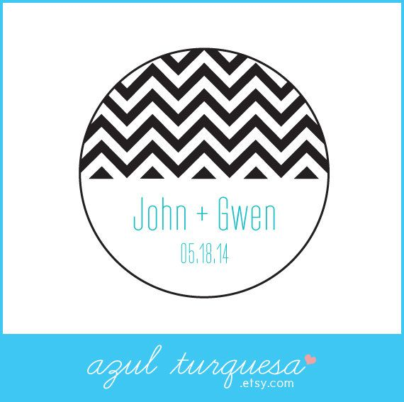 30 personalized chevron wedding stickers circle by azulturquesa 6 00
